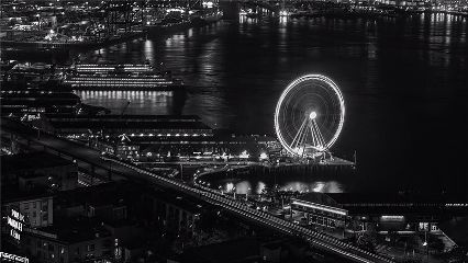 seattlewheel longexposure black seattle cityscape