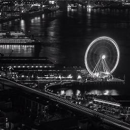 seattlewheel longexposure black seattle cityscape
