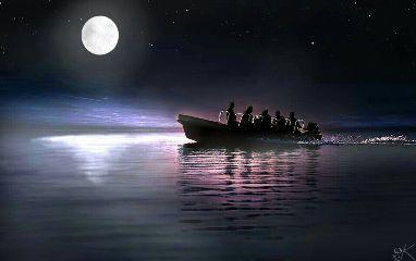 moonlight light boat travel night