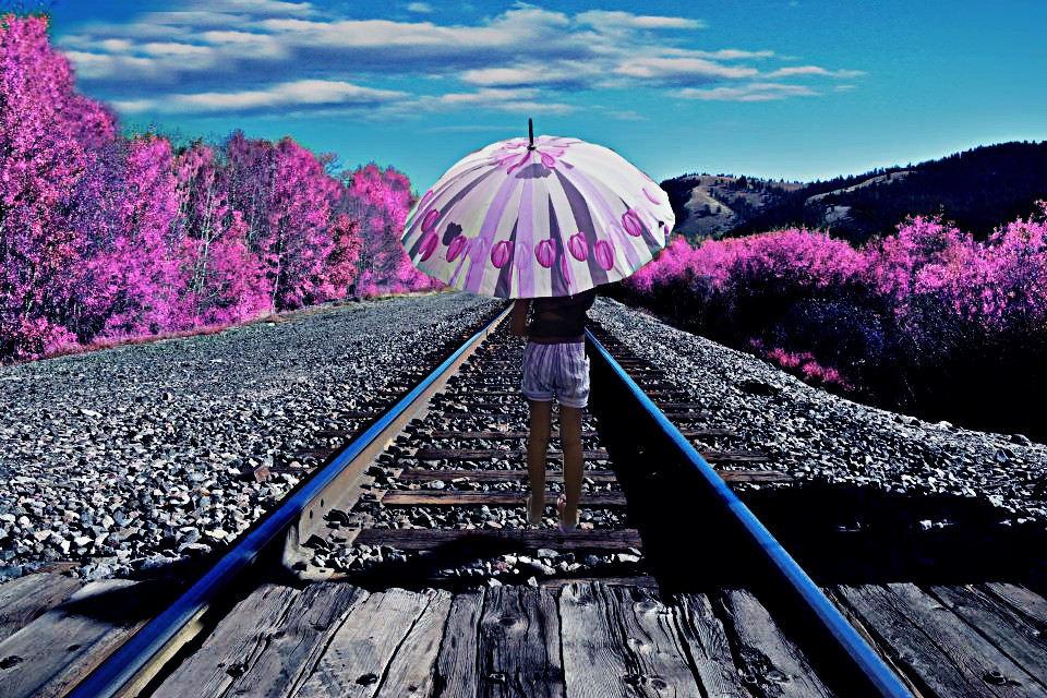 Good start to the week for all of you friends, vote for me please :) #FTERailway #pink #umbrella #sky #blue #cold