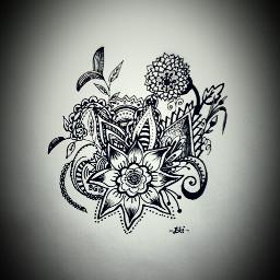 blackandwhite drawing flower