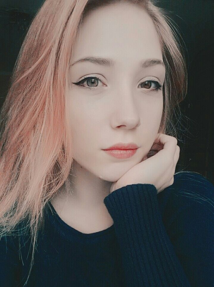Cute Russian Girl Peach Hair Beauty Selfie Russian