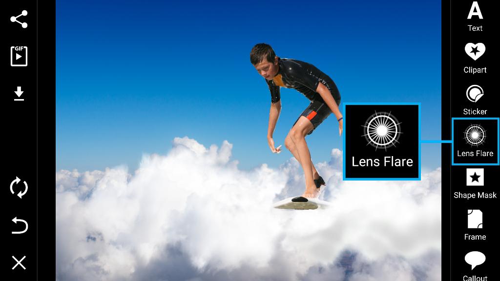 lens flare menu