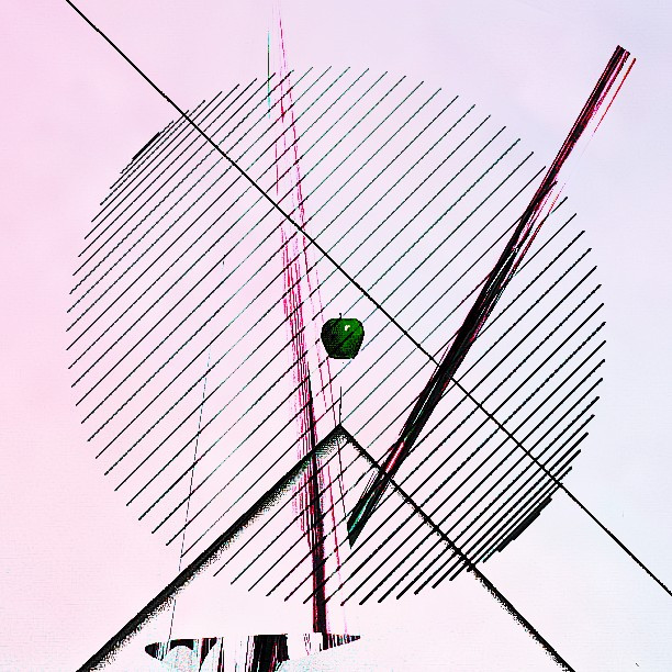 #apple  #silver #foil #circle  #lines #pink #blue  #hue