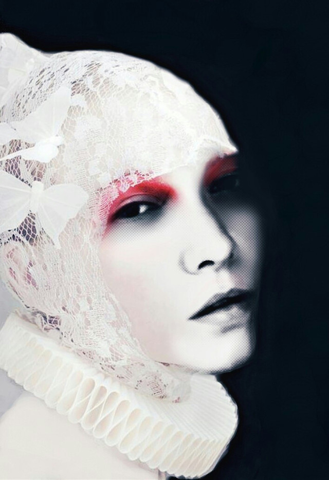 #freetoedit #photography  #black  #white  #red  #color  #face #woman #portrait #girl #emotions