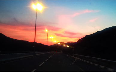 nature road red sky sunset