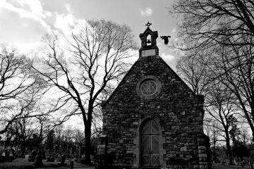 cemetery graveyard chapel bird blackandwhite