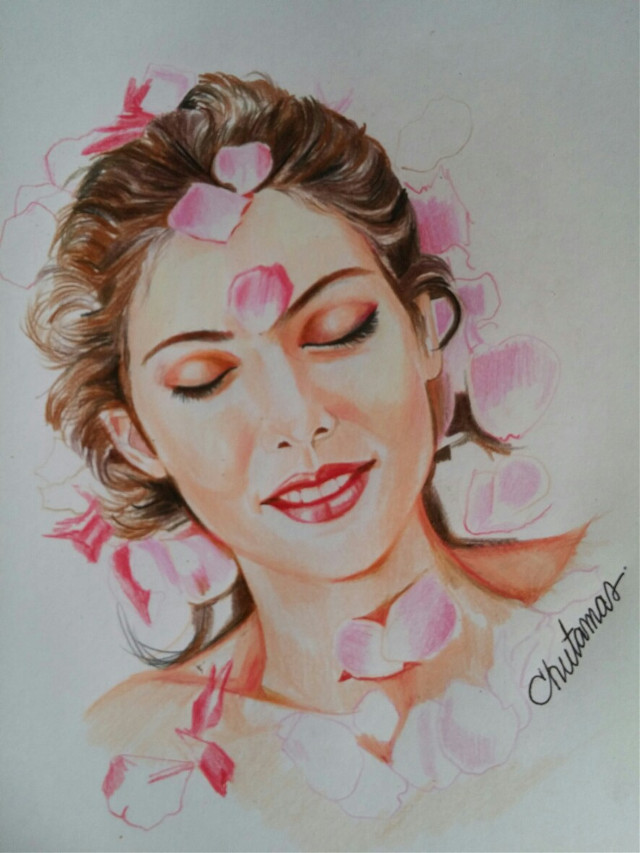 #drawing  #coloredpencils  #by me #woman #love  #happy  #rose 😌💕🌹🌹🌹🌸🌸