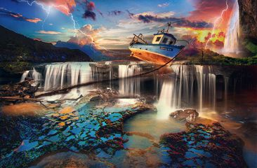 boat interesting art beach waterfall