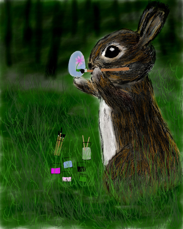 #wdpbunny #nature #colorful #drawing #cute #grass #tree #egg #paint #rabbit  if you like, please vote! Thanks! 19th place