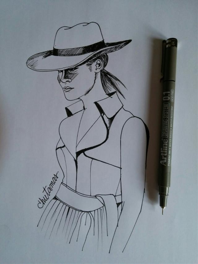 #design  my penart #blackandwhite #dress #hat😆🌹😁😍